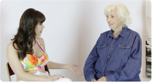 Claire Sinclair is seen above interviewing Bunny Yeager, the original Bettie Page photographer
