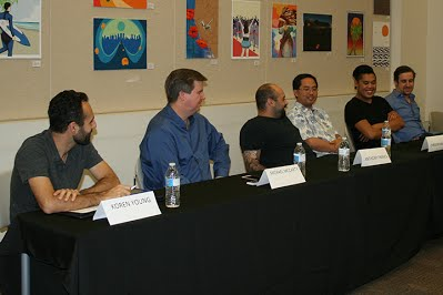 The panelists included (left to right): Koren Young, Post production specialist Michael McCarty, Mobile app developer Anthony Franck, Expert on Search Engine Optimization Chris Miyamoto, Search engine marketer & PPC specialist Joshua Principe, Graphic Designer Brandyn Morelli, Web developer